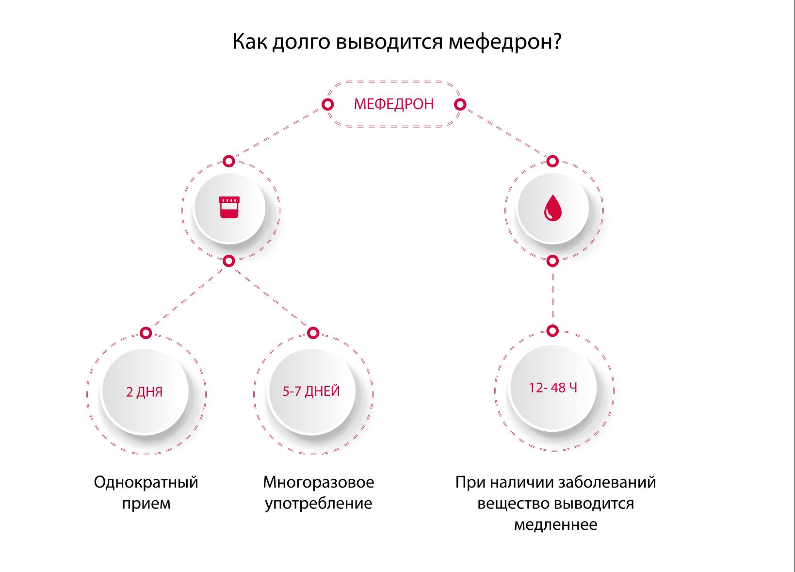 Длительность выведения мефедрона из организма
